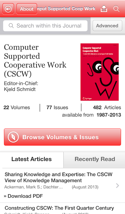 CSCW Journal - screenshot