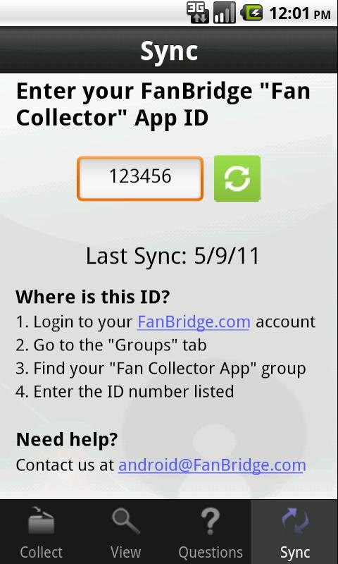 FanBridge Fan Collector- screenshot