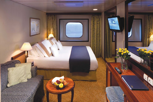 Azamara-Ocean-View-suite - Watch the passing landscapes in one of Azamara's Ocean View suites.
