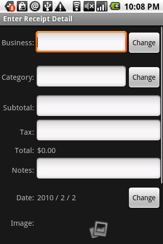 Receipt Filer Gold- screenshot