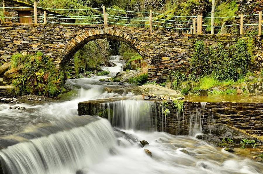 Piódão, Portugal by Julio Cardoso - Landscapes Waterscapes ( waterscape, waterfall, stone, bridge, rustic )