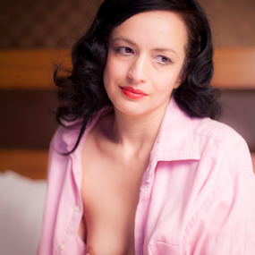 Pretty in pink by Antony Sendall - Nudes & Boudoir Boudoir ( back hair, model, nude, boudoir, beauty, red lipstick, raven hair, man's shirt, soft, glamour, breast, female, mature, woman, men's shirt, artistic, pink, shirt )