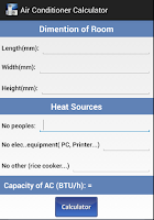 Screenshot of Air Conditioner Calculator