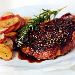 Rib-Eye Steak au Poivre with Balsamic Reduction.