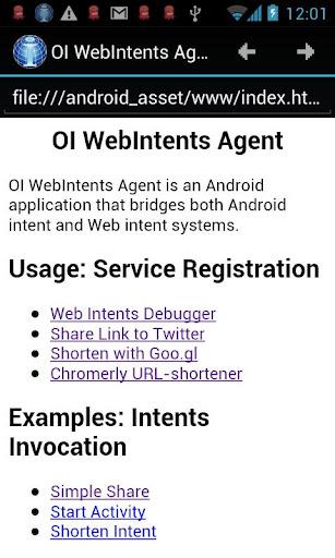 OI WebIntents Agent beta