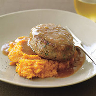 Turkey-Thyme Meatloaf Patties with Mashed Sweet Potatoes.