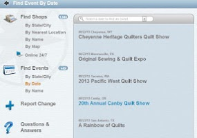 Screenshot of Quilt Shop Locator