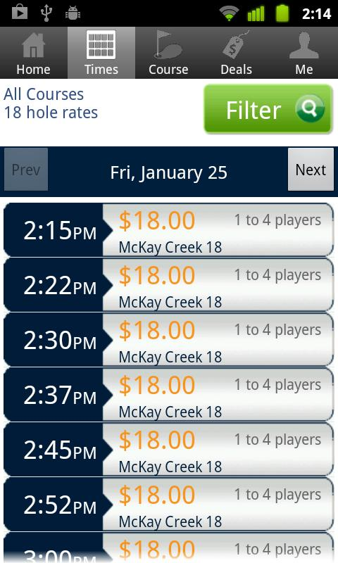 McKay Creek Tee Times - screenshot