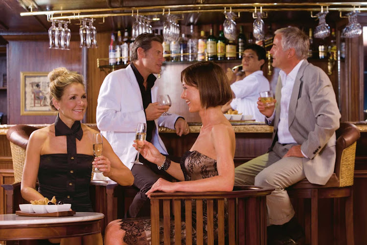 Guests will enjoy an evening with friends in River Tosca's full-service bar during their cruise along the Nile River.