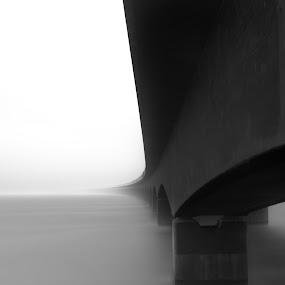 Foggy day by Kim Borup Matzen - Buildings & Architecture Bridges & Suspended Structures ( water, black and white, long exposure, architecture, bridge, denmark )