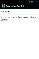 Screenshot of Safe Notes Pro Secure NotePad