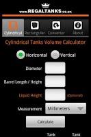 Screenshot of Tank Volume Calculator