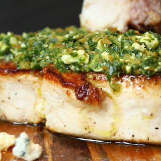 Swordfish with Blue Pesto.