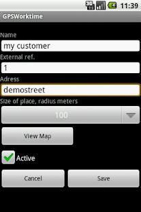 GPS Worktime– miniatyr av skärmdump