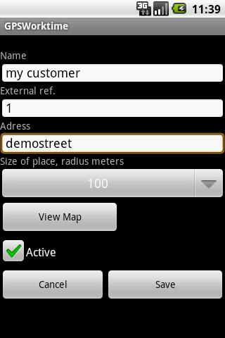GPS Worktime– skärmdump
