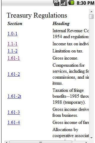 Tax Regs- screenshot
