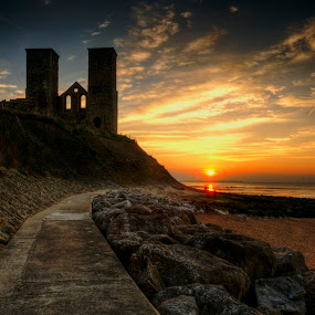 Reculver Sunset by Kevin Towler - Landscapes Sunsets & Sunrises ( uk, tower, reculver, hdr, sunset, kent, beach, coast, , relax, tranquil, relaxing, tranquility )