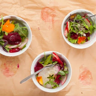 Apple, Fennel & Roasted Beets with Pomegranate Vinaigrette.