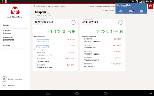 Cr dit mutuel pour tablettes android apps on google play - Plafond compte courant credit mutuel ...