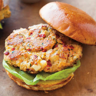 Chickpea and Roasted Red Pepper Burgers with Smoked Paprika Mayonnaise.
