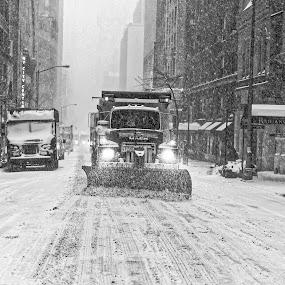 NYC BW Snowplow by Greg Bracco - City,  Street & Park  Street Scenes ( greg bracco photography. canon, sanitation truck, winter, greg bracco, canon 5diii, times square, snow, nyc, brizzard 2015, blizzard, snow plow,  )
