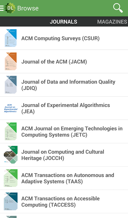ACM Digital Library - screenshot