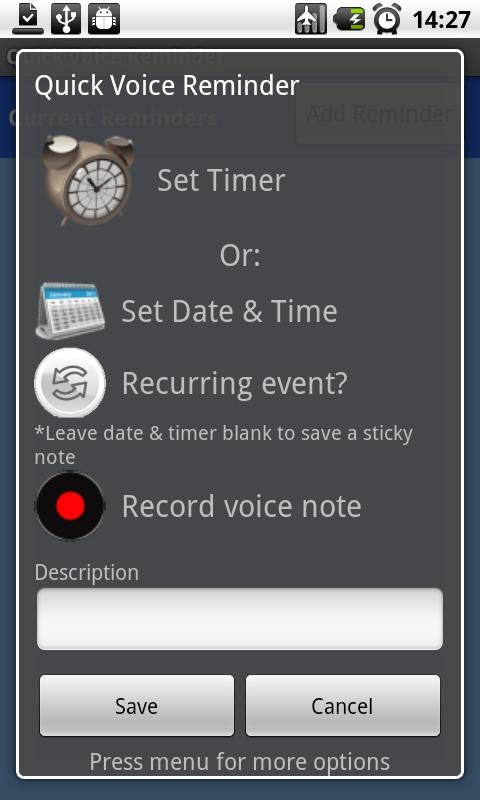 Quick Voice Reminder Lite - screenshot