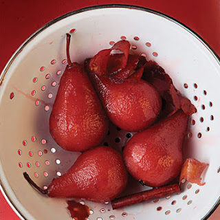 Port Wine Poached Pears.