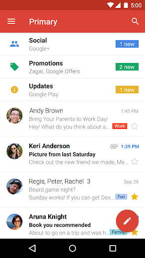 Screenshot 0 for GMail's Android app'