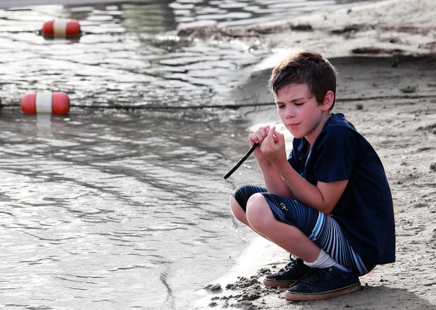 Curiosity by Blaine Linton - Babies & Children Children Candids ( water, child, curious, beach, boy, exploring )