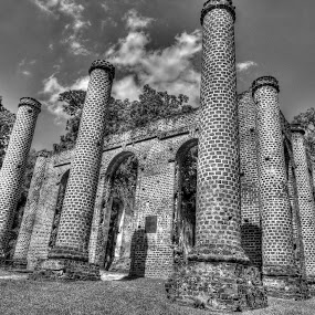 Old Sheldon Church Ruins by Cathie Crow - Black & White Buildings & Architecture ( hdr, ruins, architecture, b/w photography, hdr photography, church ruins, south carolina,  )