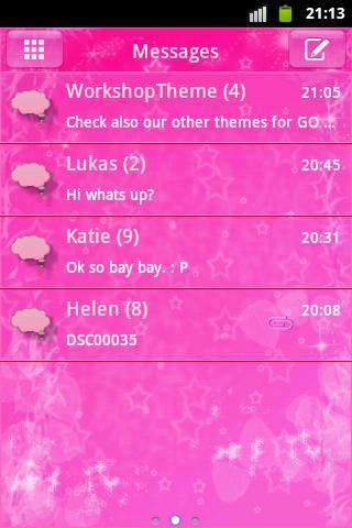 短信主題粉紅色的明星 GO SMS Theme Pink S