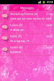 GO SMS Theme Pink Star - screenshot thumbnail