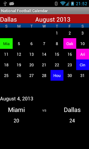 National Football Calendar