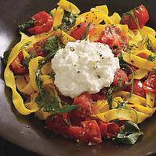 Ribbon Pasta with Tomato, Dill and Ricotta.