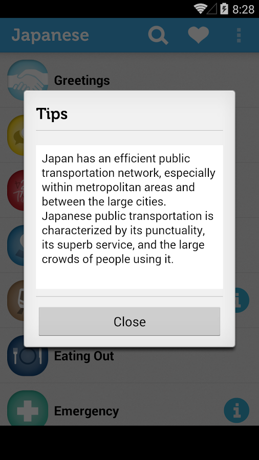 Learn Japanese Phrasebook - screenshot