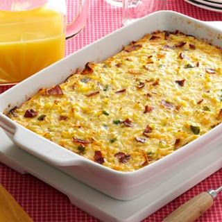 Cheesy Hash Brown Egg Casserole with Bacon.