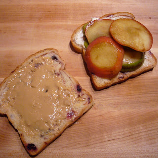 Toasted Tahini and Almond Butter Sandwich with Pears and Apples.