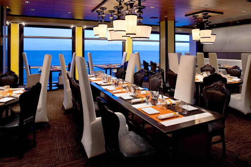Celebrity_Eclipse_Qsine - Celebrity Eclipses' exquisite dining room Qsine allows you to admire the scenery as you enjoy your meal.