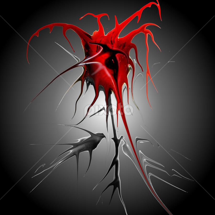 Valentine Rose by Simon Eastop - Digital Art Things ( rose, heart, thorns, blood, valentine )