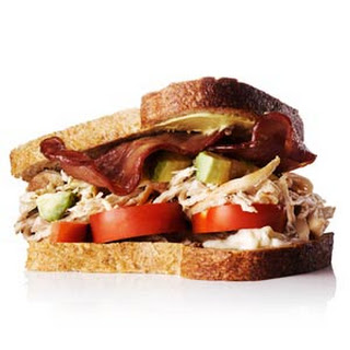 Chicken, Avocado, and Turkey-Bacon Sandwich.