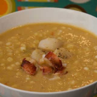 Scallop Chowder with Leeks and Corn.