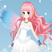 Beautiful winter snow fairy