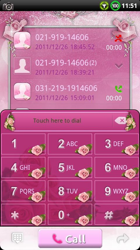 GOContacts theme Pink Roses- screenshot