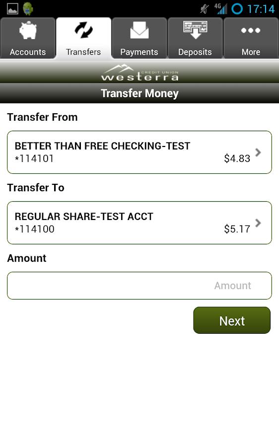 Westerra Credit Union Mobile- screenshot