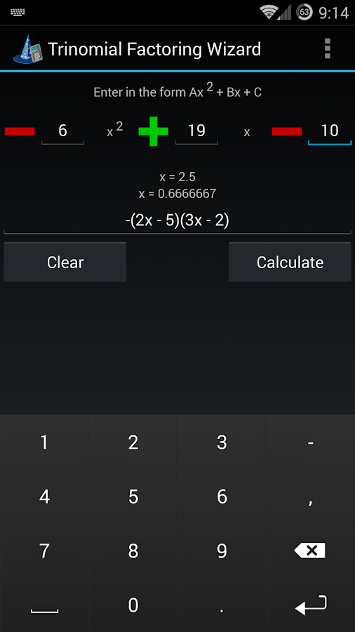 Trinomial Factoring Wizard- screenshot