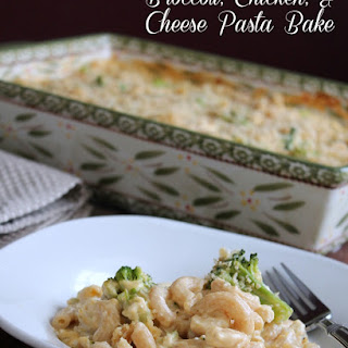 Broccoli, Chicken, and Cheese Pasta Bake.