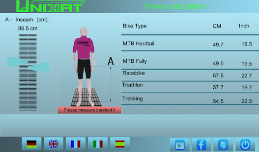 Bicycle Frame Size Caclulator- screenshot thumbnail
