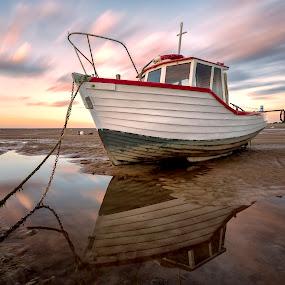 by Raymond Mcbride - Transportation Boats ( meols, sunset, slow exposure, boats, reflections )
