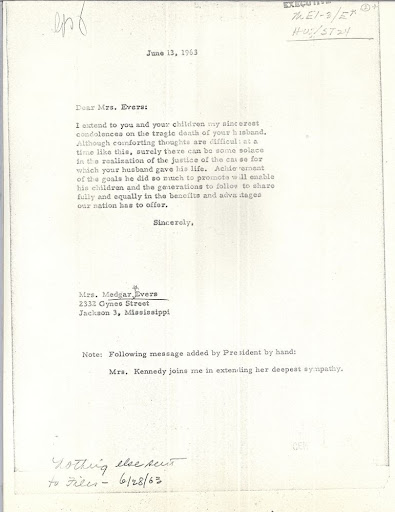 Condolence Letter to Mrs. Medgar Evers from President Kennedy